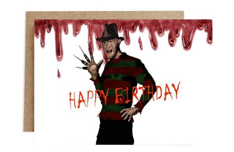 Give them the gift of choice with a freddy gift voucher card. Freddy Krueger, Happy Birthday greetingf card, digital painting (With images)   Happy birthday ...
