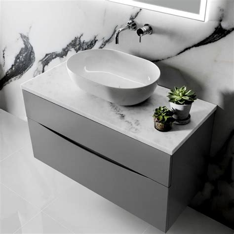 crosswater glide ii wall hung vanity unit  marble