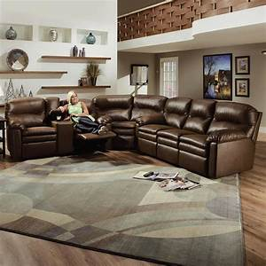 Lane touchdown leather 3 piece sectional sofa becker for Leather sectional sofa lane