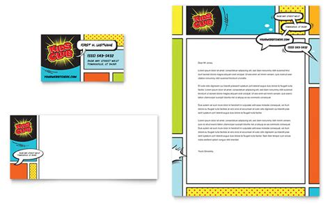 kids club business card letterhead template design