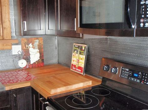DIY Backsplash   flexible rolls and faux tin Kitchens
