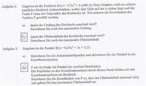 Achsenschnittpunkte Berechnen Quadratische Funktion : fl che extremwertaufgaben lk achsenparalleles rechteck soll maximale fl che haben mathelounge ~ Themetempest.com Abrechnung