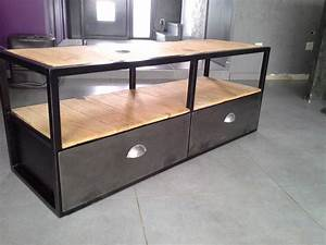 Meuble Industriel Vintage : meuble industriel tv acier bois vintage ~ Nature-et-papiers.com Idées de Décoration