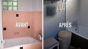 avant apres renover une salle de bains dans un style With bleu turquoise avec quelle couleur 4 couleur salle de bains idees sur le carrelage et la peinture