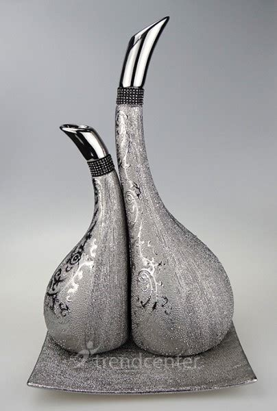 deko gold silber 3 tlg dekorative designer deko vasen set keramik gold bronze silber ebay