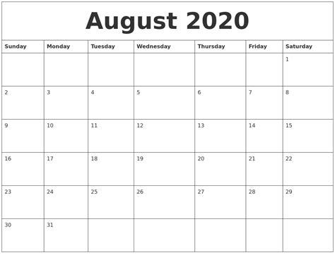 august  calendar month