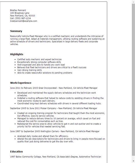 fleet supervisor cover letter 1 vehicle fleet manager resume templates try them now