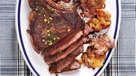 seared rib eye steak  smashed potatoes recipe martha