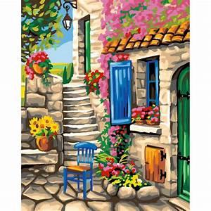 Peinture Pour Façade De Maison : peinture par num ro patio fleuri 40x50cm peinture ~ Premium-room.com Idées de Décoration