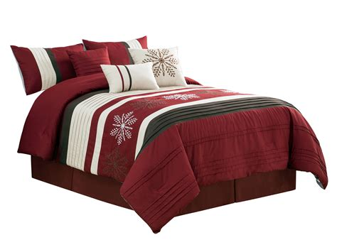 7-pc Winter Wonderland Snowflake Comforter Set Burgundy