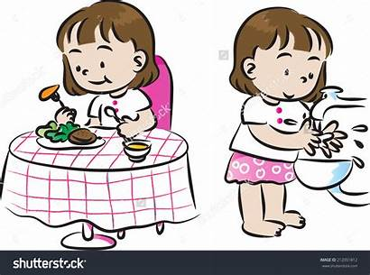 Wash Hand Meal Before Clipart Eat Vector