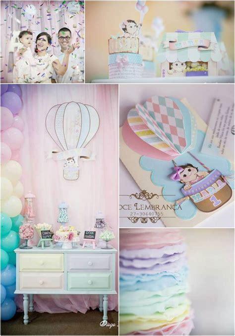 pastel rainbow hot air balloon party  karas party