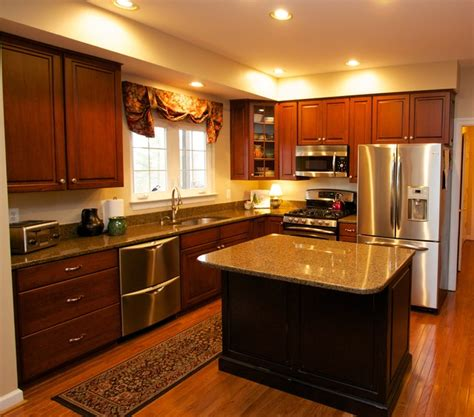 kitchen cabinets installed transitional cherry kitchen with contrasting island in 3037
