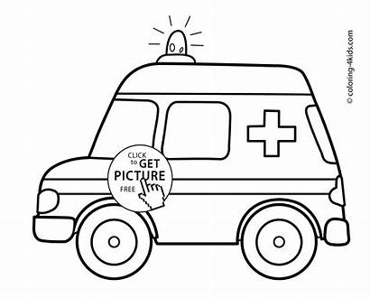 Ambulance Coloring Transportation Pages Printable 4kids