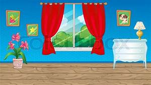Vector cartoon game background of blue room with red ...