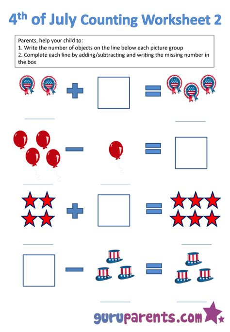 4th of july math worksheets for k 4th best free
