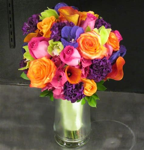 brightly colored bridal bouquet  san diego ca house