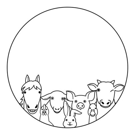A page for describing funny: Funny Farm Animals Circle Border Frame Illustrations ...