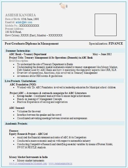 sle resumes for freshers in finance resume corner