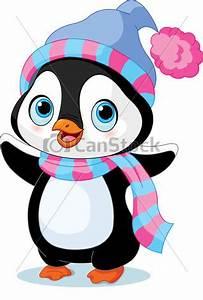 Vektor Clip Art von CÙte, Winter, Pinguin, mit, Hut, und ...