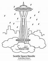 Embroidery Needle Space Seattle Pattern Patterns Washington Simple Paper Skyline Template State Stitch Cross Coloring Sketch Needlework Stitching Flowers Tiny sketch template