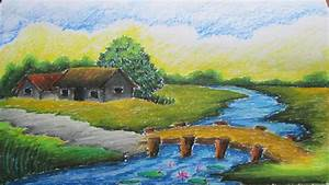 Easy Scenery Drawing With Color For Kids How To Draw A ...