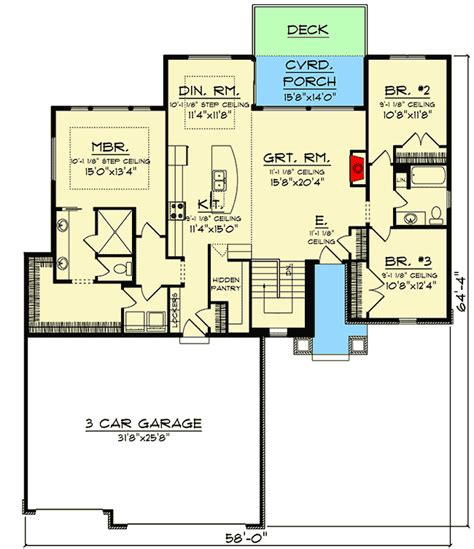 New American Floor Plans by Plan 890103ah Split Bedroom New American Ranch Home Plan