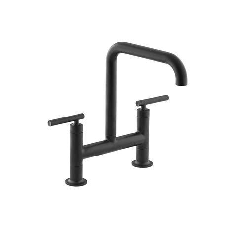 matte black kitchen faucet kohler purist 2 handle bridge kitchen faucet in matte