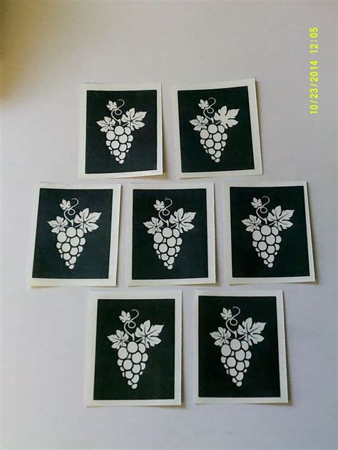 stencils etching glass wine grape grapes craft hobby glassware gift