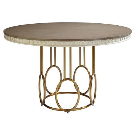 Alexis Modern Classic Round Birch And Gold Dining Table