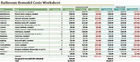 bathroom remodel cost calculator templates officecom