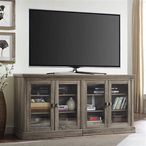 tv stand glass doors 70 tv stand with glass doors in sonoma oak 1784096pcom