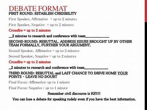debate notes and format w rubric With first speaker debate template