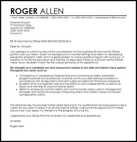 environmental officer cover letter sample cover letter