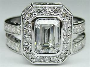 wedding rings with engraved emerald cut diamond wedding With emerald diamond wedding rings