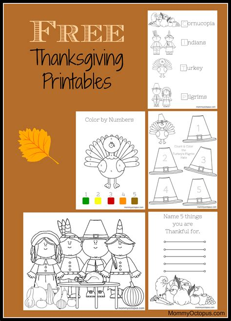 free thanksgiving printable activity sheets mommy octopus interactive coloring writing halloween activities fall