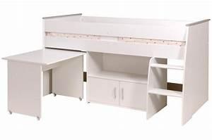 Lit Combiné Bureau : lit mezzanine en panneau de particules blanc combin avec ~ Premium-room.com Idées de Décoration