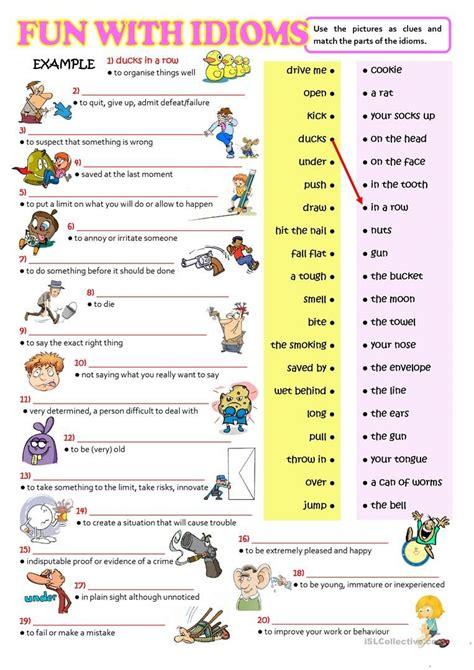 fun  idioms worksheet  esl printable worksheets