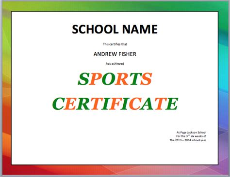 Sport Certificate Templates For Word by School Sports Certificate Template Microsoft Word Templates