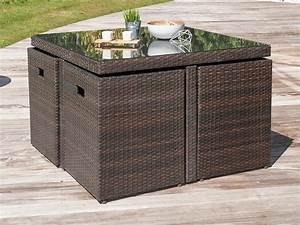 Salon de jardin encastrable 4 places table 105x105cm en for Salon de jardin encastrable 4 places