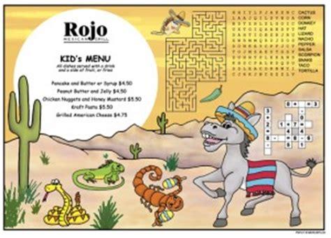 childrens menus kids activity placemats  restaurants