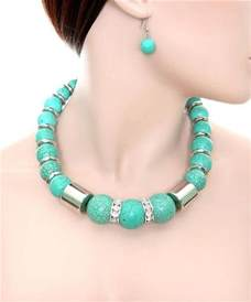 Chunky Heavy Turquoise Bead Necklace and Earring Set Fashion / Costume Jewelry