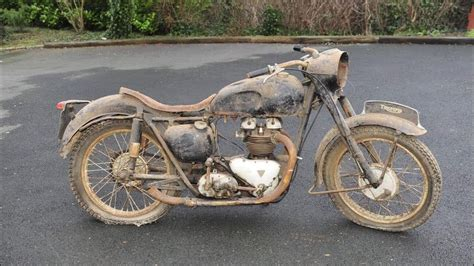 Old Motorcycle Starting Up After Many Years