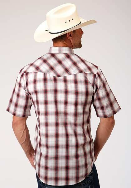 roper short sleeve shirt berry black tan plaid