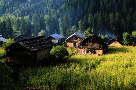 huts  neelum valley kashmir nature  landscape