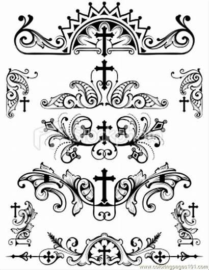 Symbols Christian Religion Cross Coloring Printable Vector