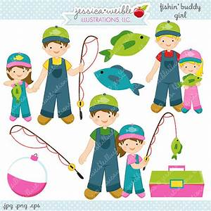 Fishin Buddy Girl Cute Digital Clipart Commercial Use OK