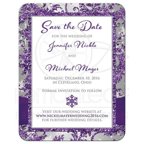 PHOTO Wedding Save the Date Card Purple Silver White