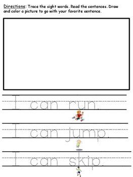 tracing sight word  cvc word sentences   kaufmans