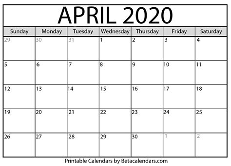 blank april calendar printable beta calendars